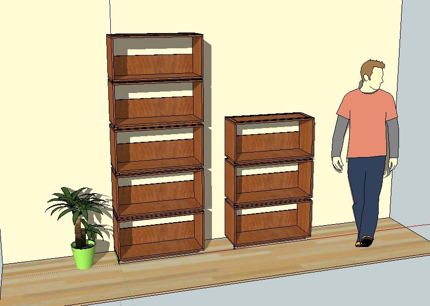 Biblio Caissons Dessin 3D Artisan