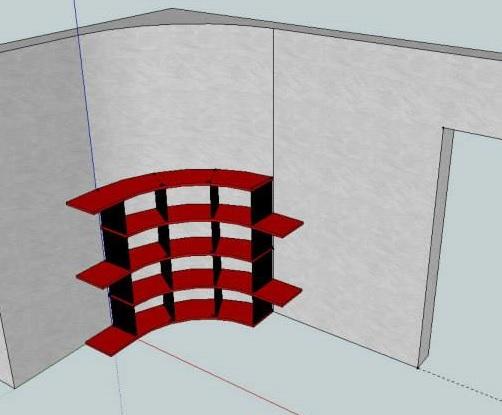 Etagère Arrondie Agencement en 3D