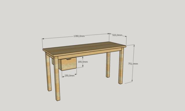 Table Couture et Dimension 3D Bois