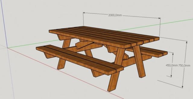 Table Pique-Nique Dessin 3D Pau