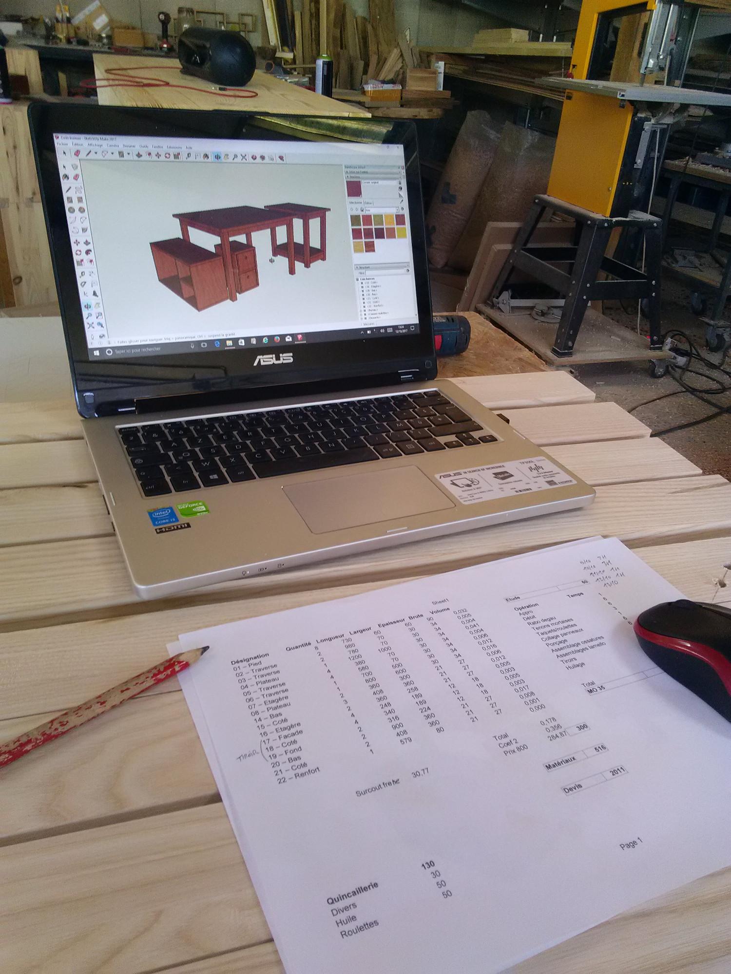 Dessin 3D PC Sketchup / Menuisier Lons